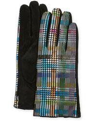 Neiman Marcus Fun Plaid Suede Gloves - Black