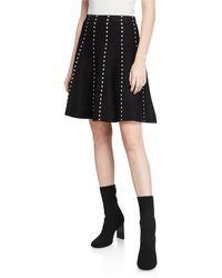 Neiman Marcus Dots Full-flare Skirt - Black