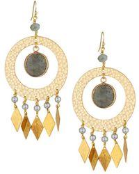 Nakamol - Labradorite & Pearl Drop Earrings - Lyst