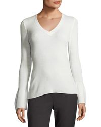 Tahari - V-neck Bell-sleeve Ribbed Sweater - Lyst