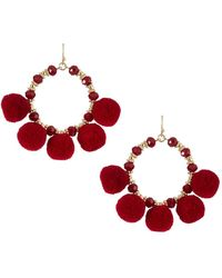 Fragments - Pompom Fringe Hoop Earrings - Lyst