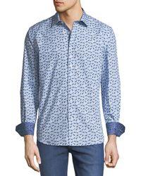 Bugatchi - Shaped-fit Bird-print Sport Shirt - Lyst