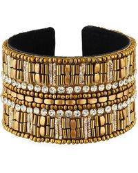 Panacea - Large Crystal Beaded Cuff Bracelet - Lyst