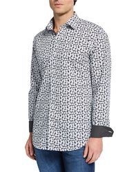Bugatchi Men's Floral-print Sports Shirt - Black