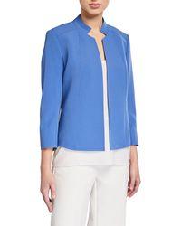 Anne Klein Crepe Stand Collar Jacket - Blue