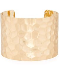 Panacea - Wide Hammered Gold-plated Cuff Bracelet - Lyst
