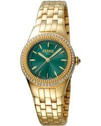 Ferrè Milano - Women's 30mm Stainless Steel 3-hand Glitz Watch With Bracelet Golden/green - Lyst