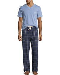 Robert Graham Men's V-neck Top Flannel Pant Set - Blue
