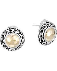 John Hardy | Palu 18k Gold & Sterling Silver Post Earrings | Lyst