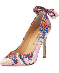 Neiman Marcus - Verity Floral-brocade Bow-back Pumps - Lyst