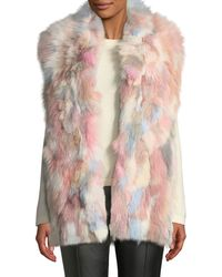 Adrienne Landau - Multicolored Pastel Fox-fur Vest - Lyst