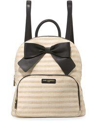 Karl Lagerfeld - Kris Striped Straw Bow Backpack - Lyst