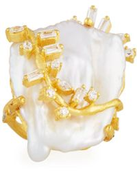 Indulgems - Keshi Pearl & Crystal Vine Cocktail Ring - Lyst