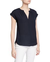 Philosophy V-neck Extended Shoulder Chiffon Top W/ Cuffs - Blue
