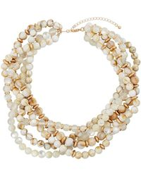 Lydell NYC - Layered Bead Collar Necklace Beige - Lyst