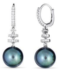 Belpearl Classic 18k White Gold Diamond Tahitian Pearl Earrings - Blue