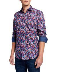 Bugatchi Men's Classic-fit Feather-print Sport Shirt - Blue