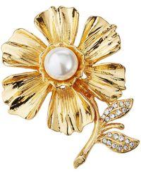 Kenneth Jay Lane Pearly Flower Crystal Pin - Metallic