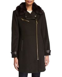 Via Spiga - Asymmetric Coat With Faux Fur Collar - Lyst