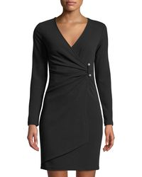 Bebe - Long-sleeve Crepe Faux-wrap Dress - Lyst