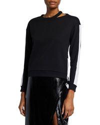 BCBGMAXAZRIA Colorblock Zip Sweatshirt - Black