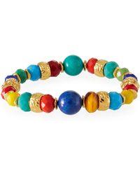 Jose & Maria Barrera Stretch Bracelet W/ Glass Beads - Blue