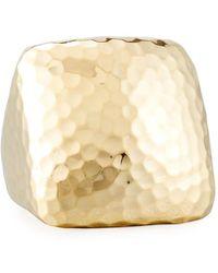 Roberto Coin - Martellato Square 18k Gold Ring - Lyst