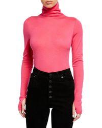 Zadig & Voltaire - Beth Mock-neck Long-sleeve Bodysuit - Lyst