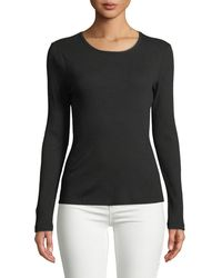 Allen Allen Ribbed Long-sleeve Fitted Tee - Black