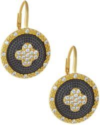 Freida Rothman - Pave Medallion Clover Drop Earrings - Lyst