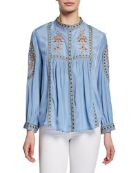 Haute Rogue - Embroidered Button-front Shirt - Lyst