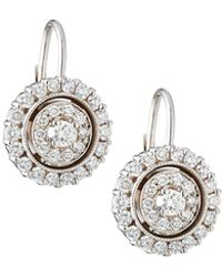 Penny Preville - 18k White Gold Diamond Double-circle Drop Earrings - Lyst