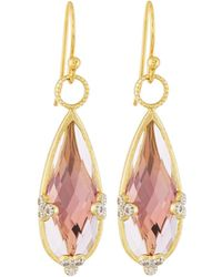 Jude Frances | 18k Teardrop Amethyst & Diamond Earring Charms | Lyst