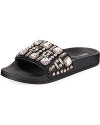 Neiman Marcus - Debut Jeweled Flat Pool Sandal - Lyst