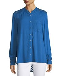 Neiman Marcus - Lace-inset Long-sleeve Blouse - Lyst