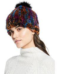 Adrienne Landau - Knit Rabbit fox Fur Multicolor Pompom Hat - Lyst 07b2fe944853