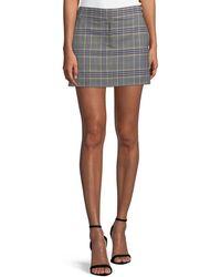 Tibi Lucas Plaid Suiting Mini Skirt - Black