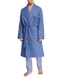 Neiman Marcus Men's Flannel Check Brushed Cotton Robe - Blue