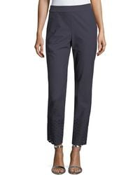 St. John - Twill Cropped Eyelet Stretch Pants - Lyst