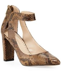 Adrienne Vittadini Nieves Snake-print Leather Ankle-strap Pumps - Brown