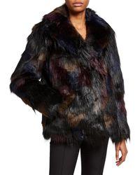 RACHEL Rachel Roy Reversible Faux Fur Coat - Black