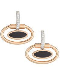 Roberto Coin 18k Oval Black Jade Earrings Rose/white