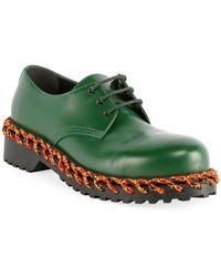 Balenciaga Men's Braided Derby Shoes - Green