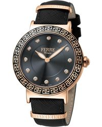 Ferrè Milano - Women's 38mm Stainless Steel Watch With Leather Strap - Lyst