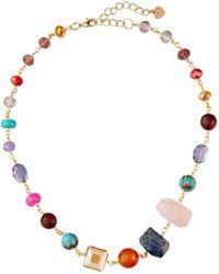 Nakamol Short Beaded-stone Necklace - Metallic