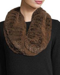 Neiman Marcus Luxury Rabbit Fur Snood - Brown