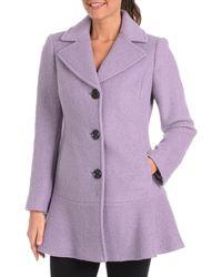 Kensie - Signature Wool Peplum Pea Coat - Lyst
