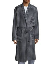 Neiman Marcus Men's Brushed Flannel Robe - Gray