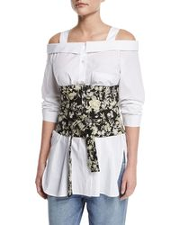 Robert Rodriguez Floral Embroidered Tie-waist Corset - Black