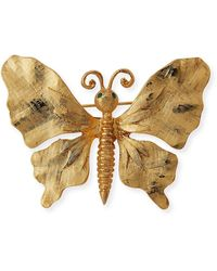 Kenneth Jay Lane Brushed Butterfly Pin - Metallic